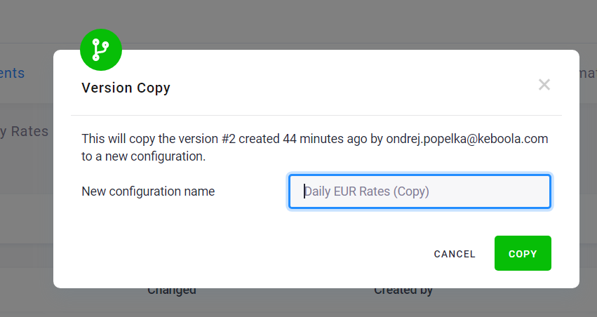 Screenshot - Configuration Create Copy