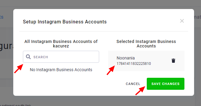 Screenshot - Select Instagram business Account