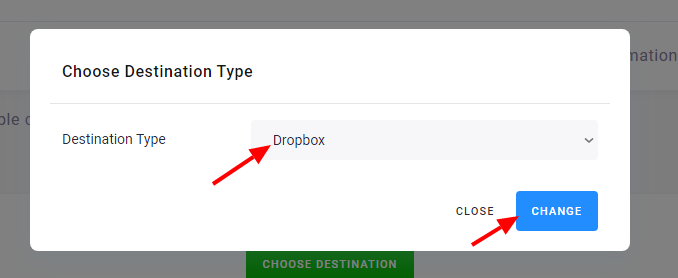 Screenshot - Upload Destination