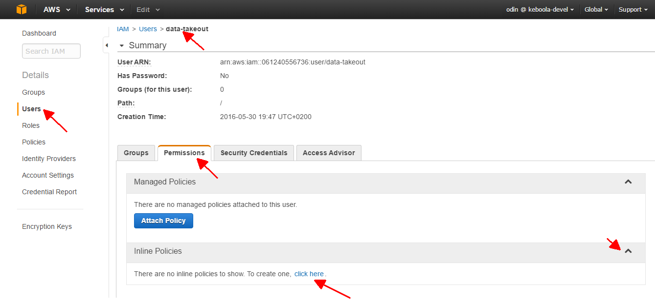 Screenshot - AWS Create User Policy