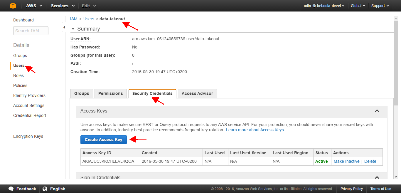 Screenshot - AWS IAM Management Console