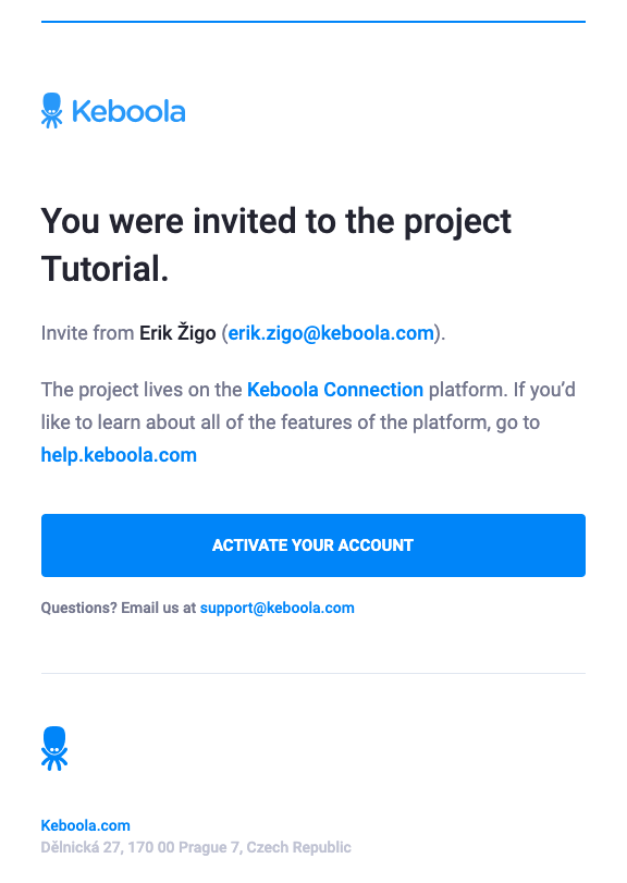 Screenshot -- Invitation email to create account