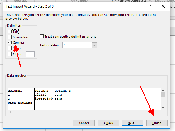 Screenshot -- Excel Import -- Import Wizard
