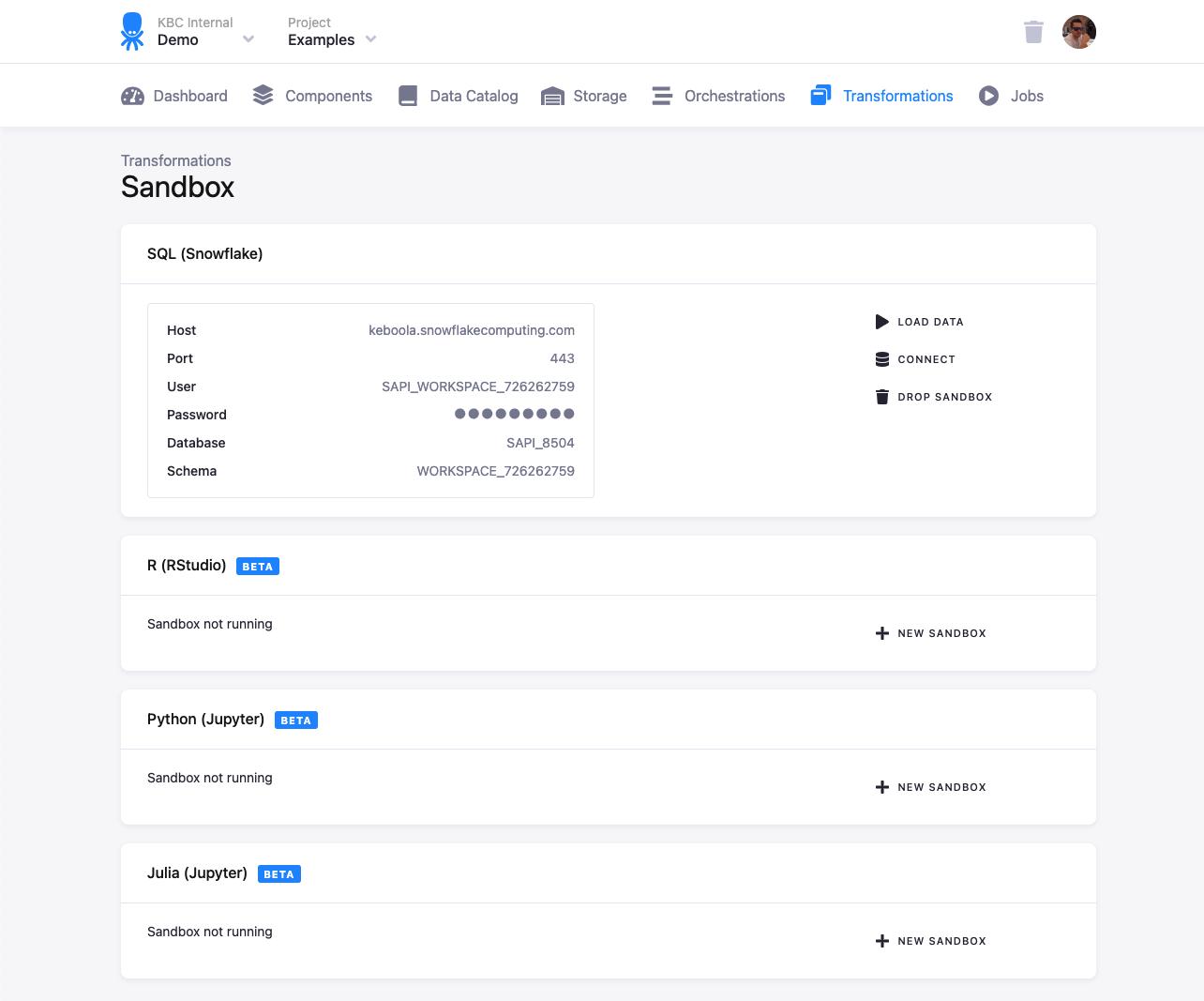 Sandbox | Keboola Connection User Documentation