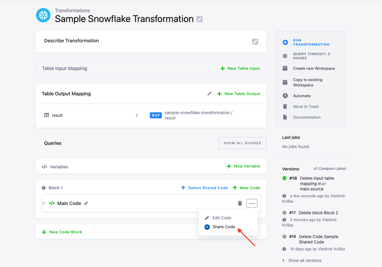 Screenshot - Create Shared Code from Transformation
