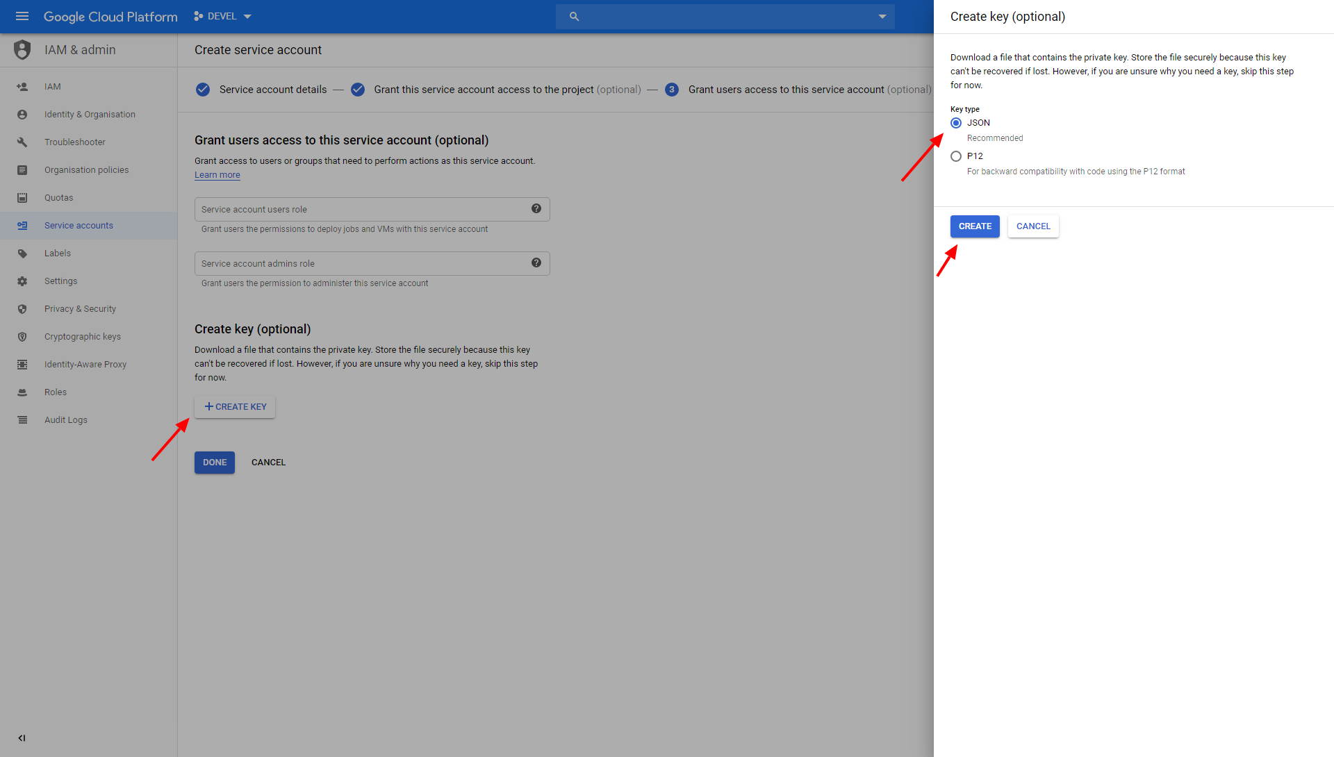 Screenshot - Google Service Account Download