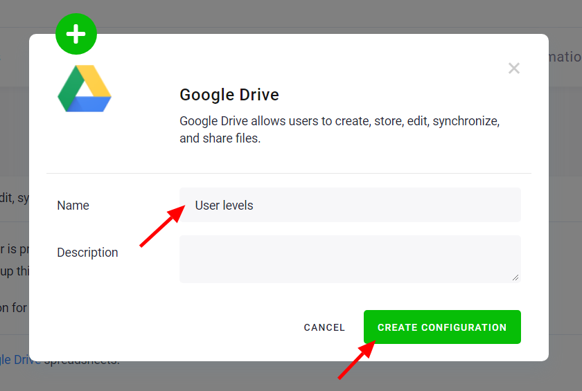 Create Google Drive Configuration