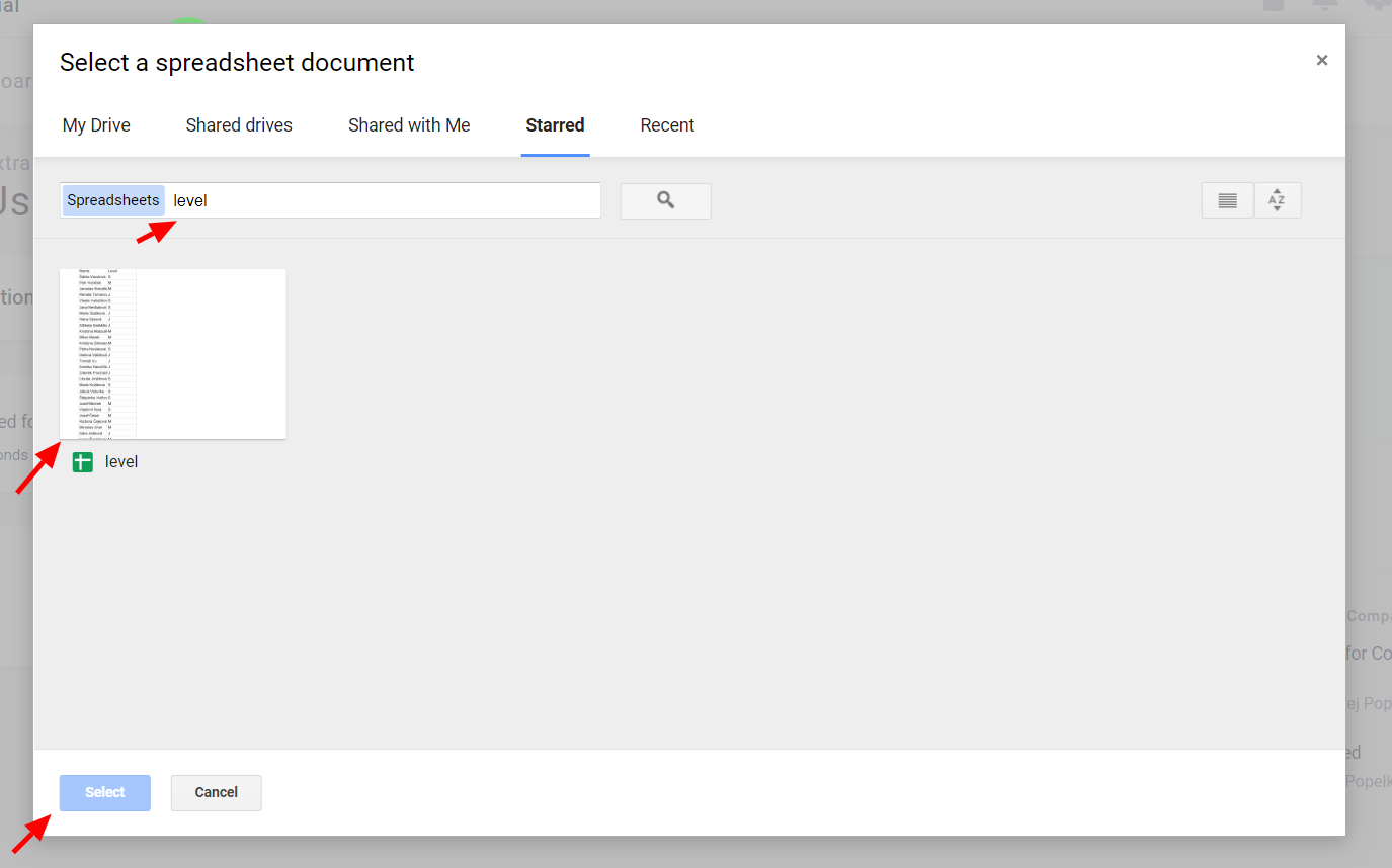 Google Drive Selected Document