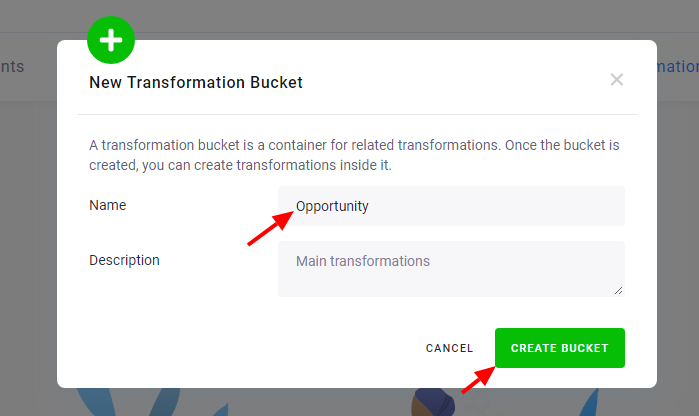 Screenshot - Create a Transformation Bucket
