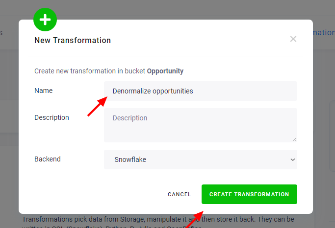 Screenshot - Create a Transformation