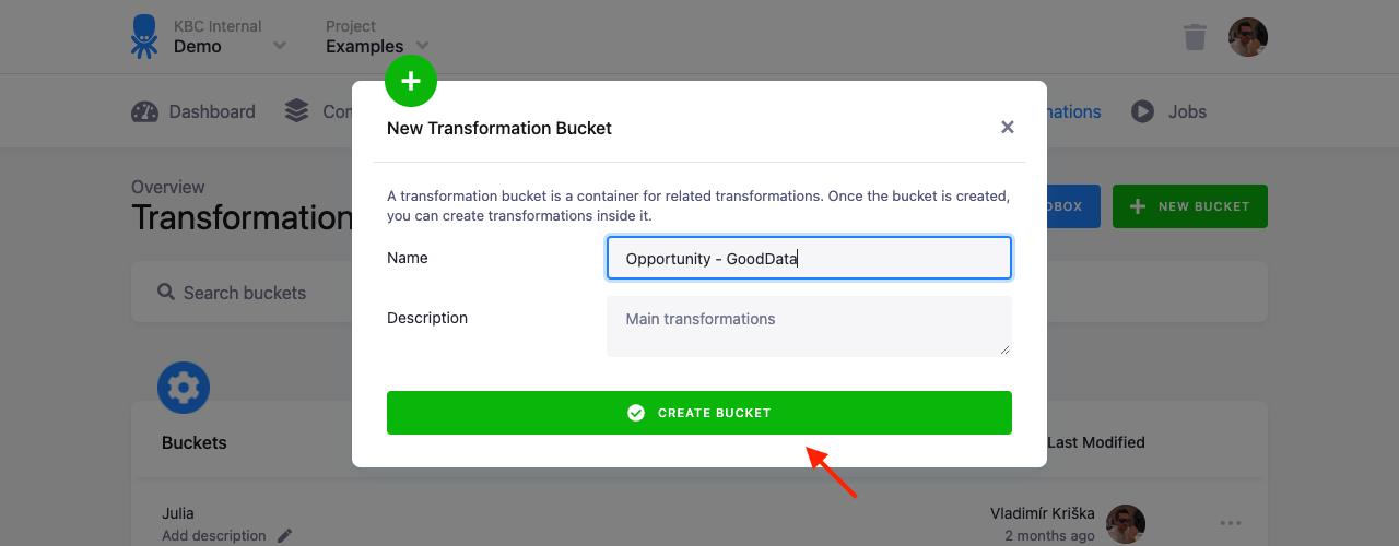 Screenshot - Transformation Bucket Create