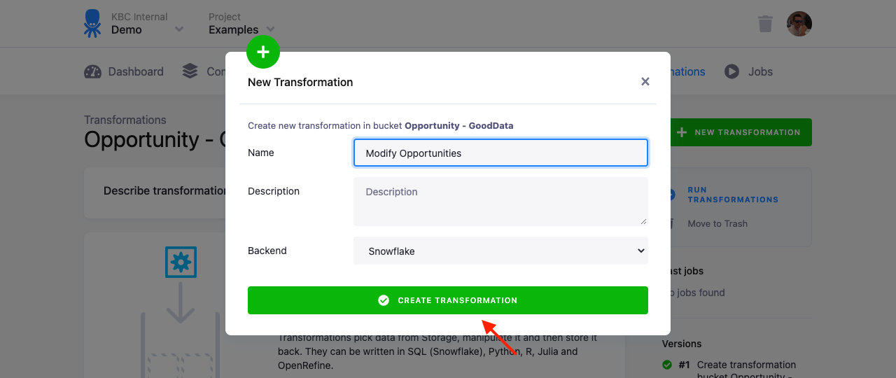 Screenshot - Transformation Create